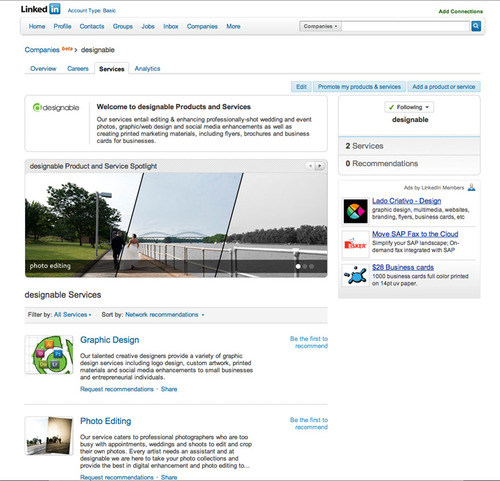 Designable linkedin company page screenshot