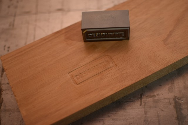designable logo stamped in wood