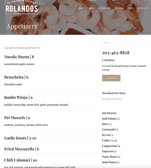 rolandos website menu screenshot